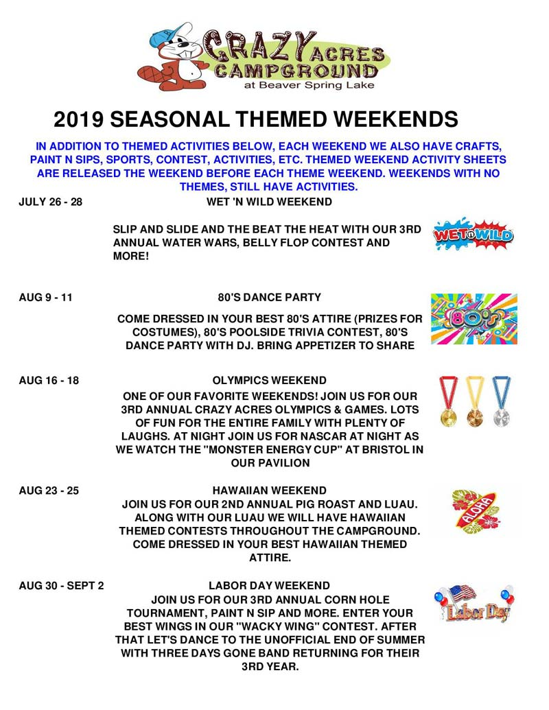 Upcoming Events   Crazy Acres Campground at Beaver Spring Lake